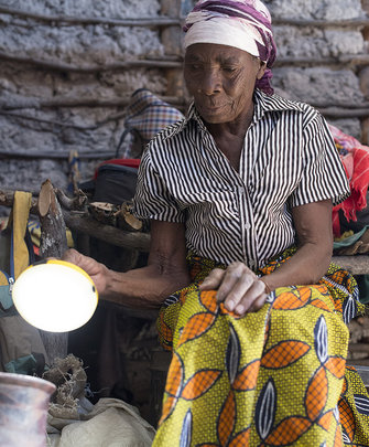 An entrepreneur showing off her new light