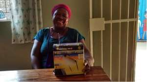 Martha, happy with her new all-in-one solar light