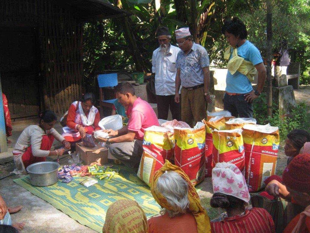 Food distribution program at Manakamana