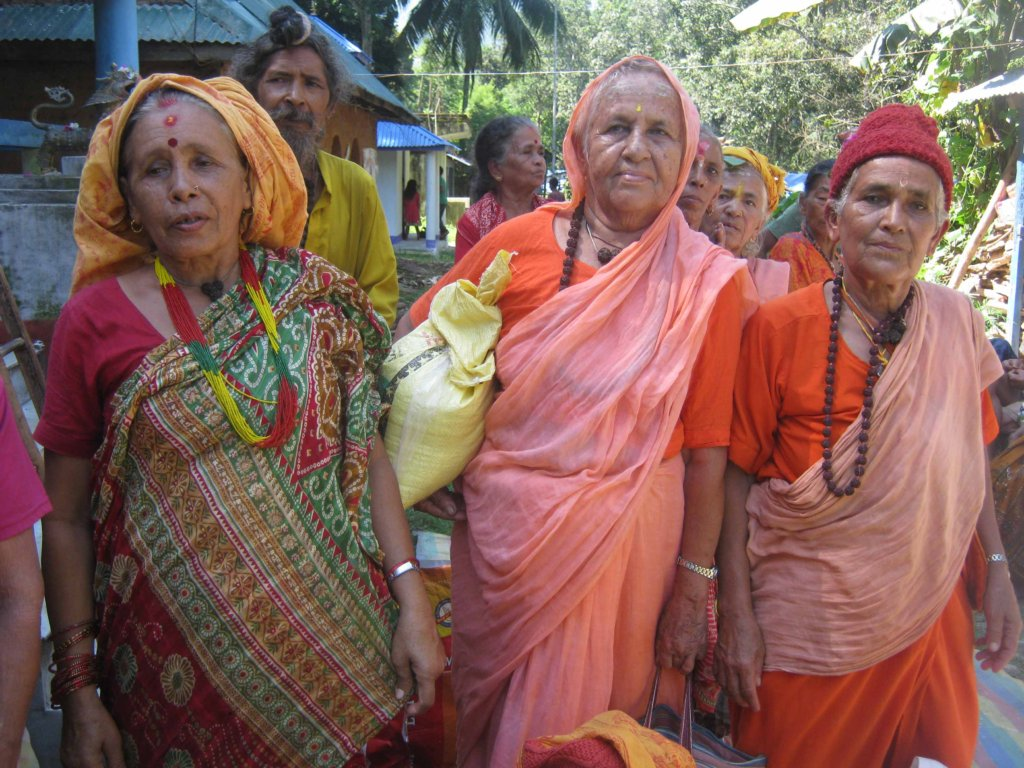 Old age women happy to receive food materials