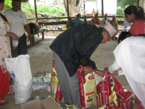 Food materials  distribution  to  elderly people