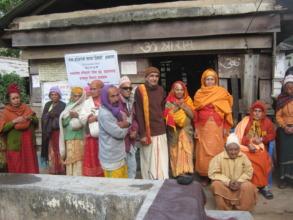 Elderly people    around the temple.
