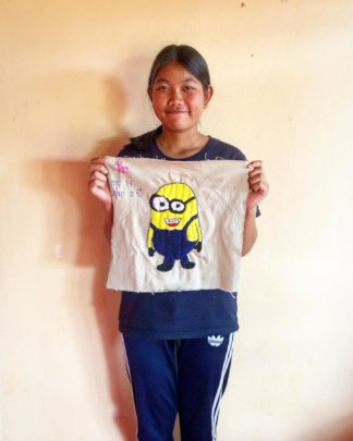A participant with her beautiful embroidery skills