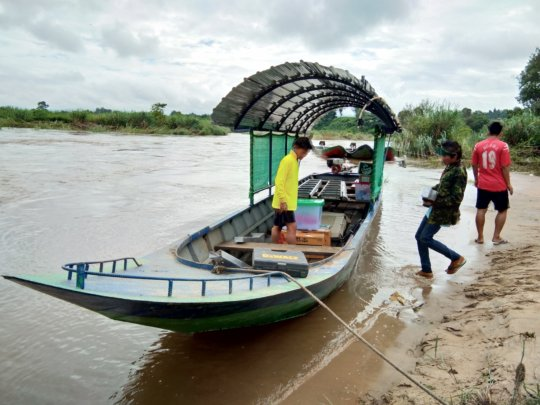 The villages in Burma were reached by boat