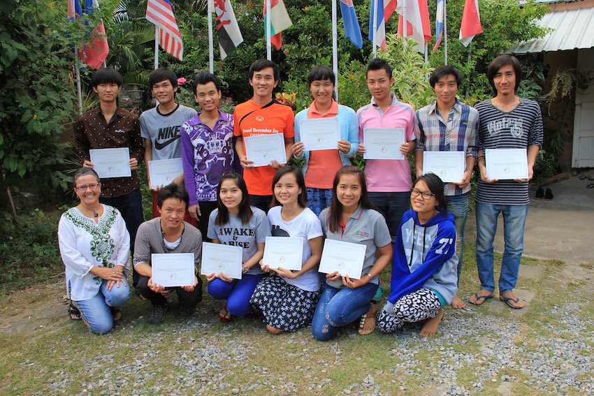 Students receiving certificates in Chiang Mai