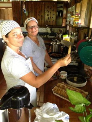 Local ladies from Santa Juana preparing dinner