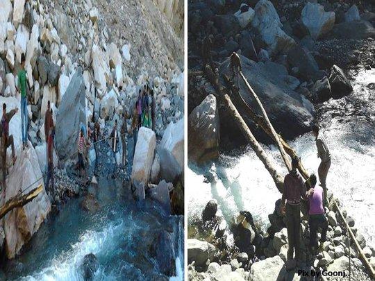 40 people from village Seku make a 6ft high bridge
