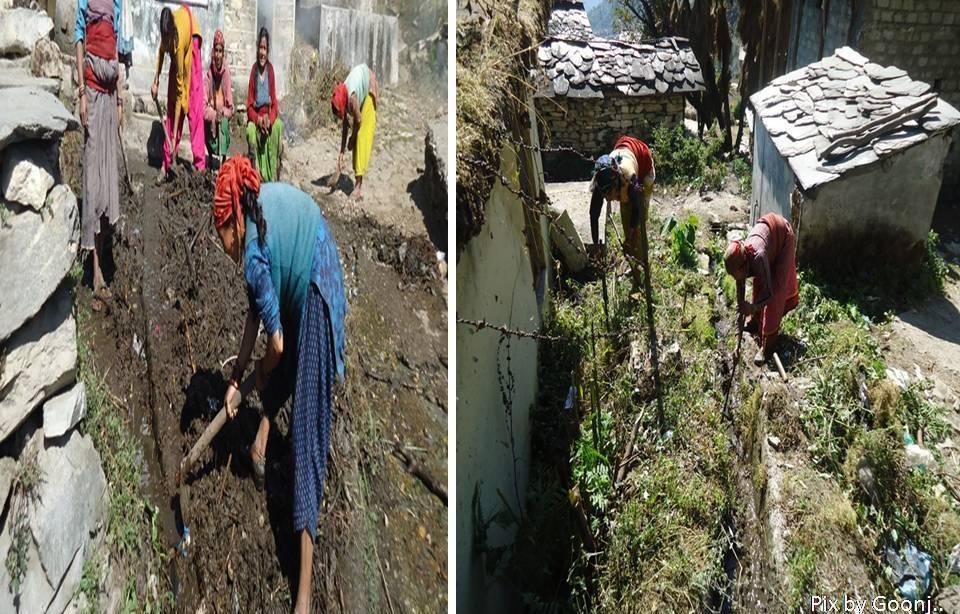 Cleaning of drains in village Naugaon, Bhatwari