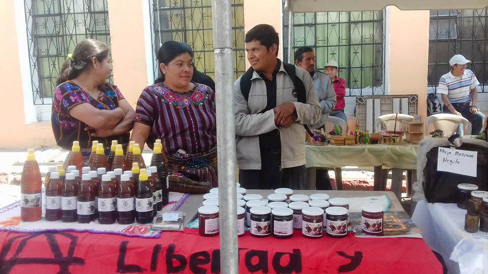Aj Tikonel Kab beekeepers selling honey at markets