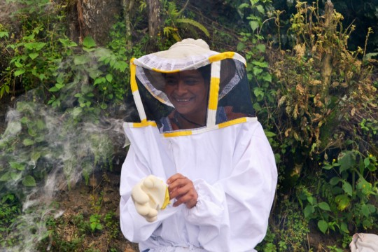 One of our beekeepers, suited up