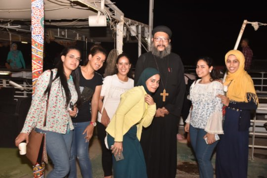 Fr. Abanoub with some of the BS in a VGP activity