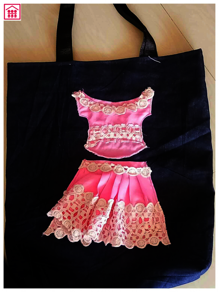 Beautiful tote bag carefully sewn by our girls