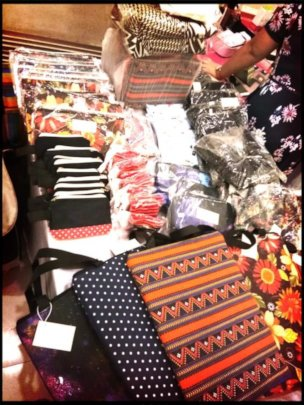 Products made by girls sold at a bazaar