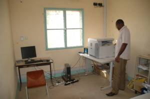 Macaire (study director) with the new copier
