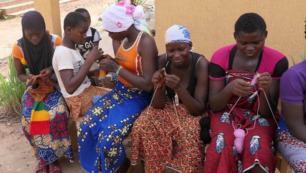 Girls knitting