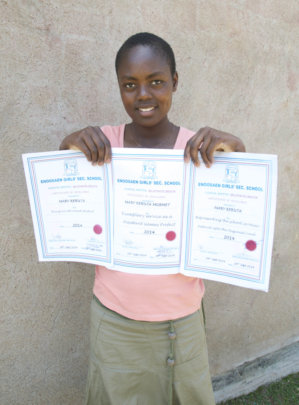 Mary with top pupil award