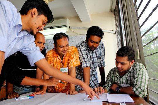 Training volunteer rescue workers in Bangladesh