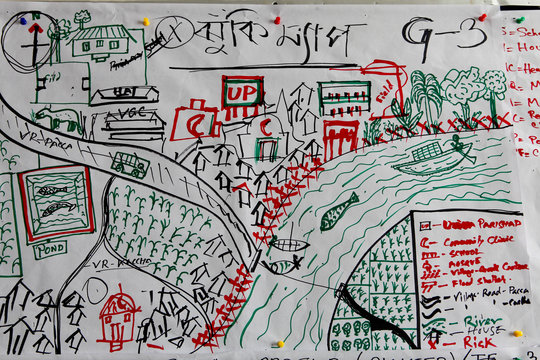 Hazard-mapping a town. Copyright RedR/GMB Akash