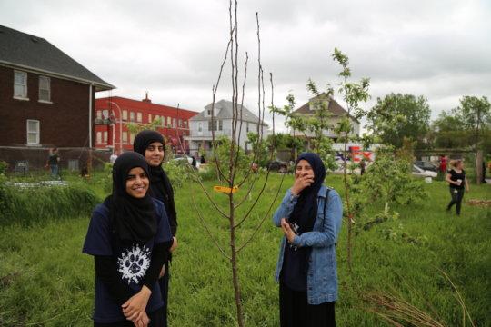 7th-graders planting in Detroit during Ramadan