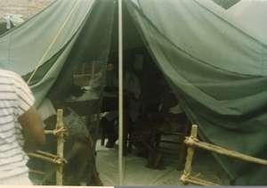 IHI Tent Clinic,1992, serves Liberian Refugees