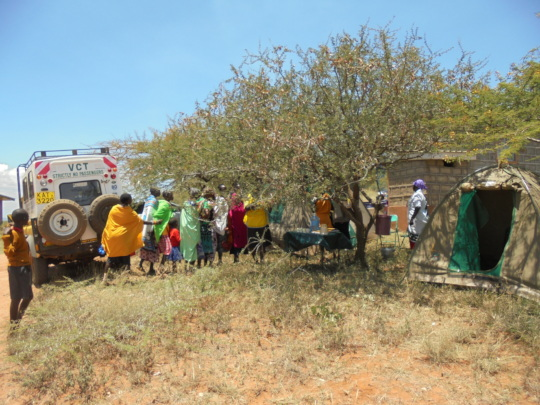 Women Queing for services at CHAT Mobile Clinic
