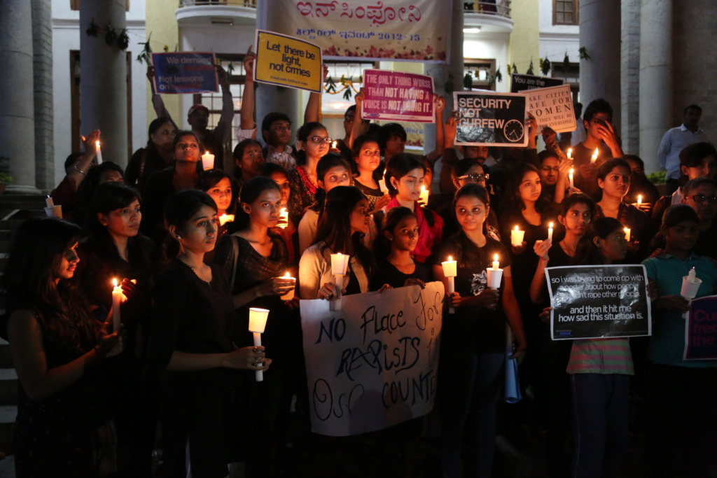 young women protesting sexual violence in India