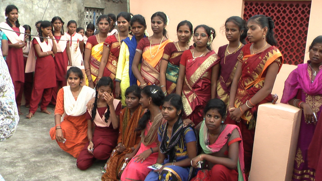 Girls after the inauguration of Velacherry centre