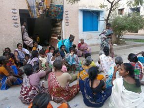 Mothers meeting in a slum
