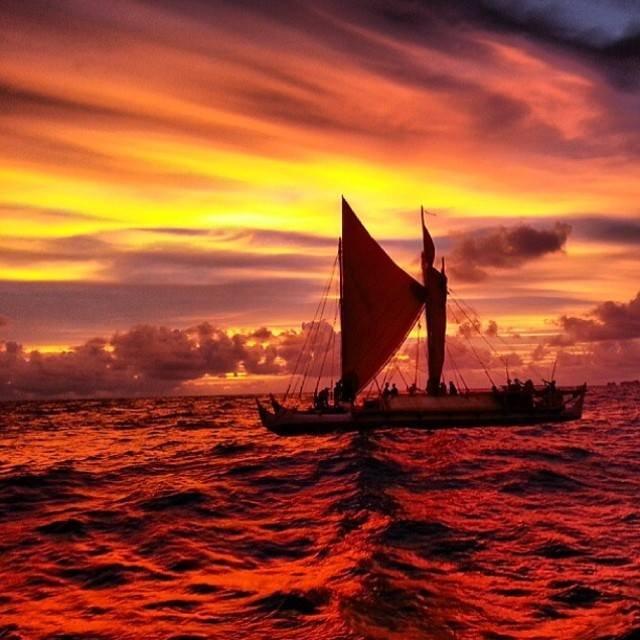 Hokulea at sunset