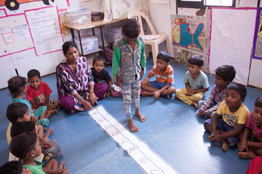 Children learning numbers