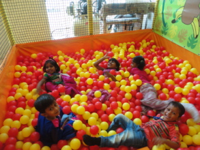 Having fun at a play centre