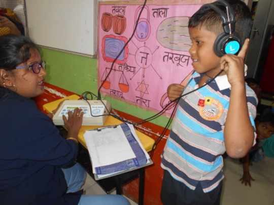Child screened during Ear Check up camp