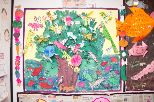 Children's artwork displayed on the theme - Birds