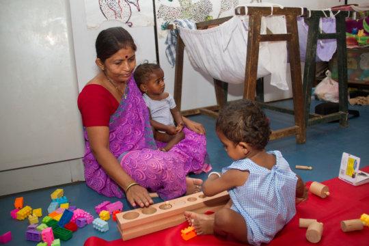 Teacher with Creche babies
