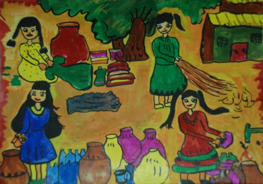 A Vibrant painting by Sarita 9 years old girl