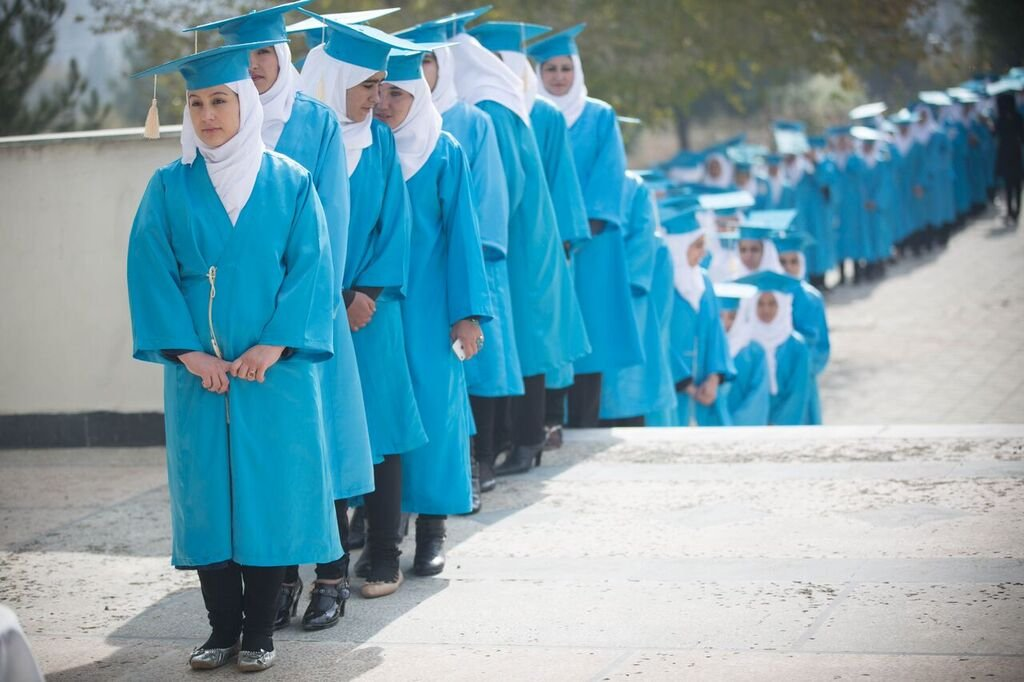 Students line up to graduate