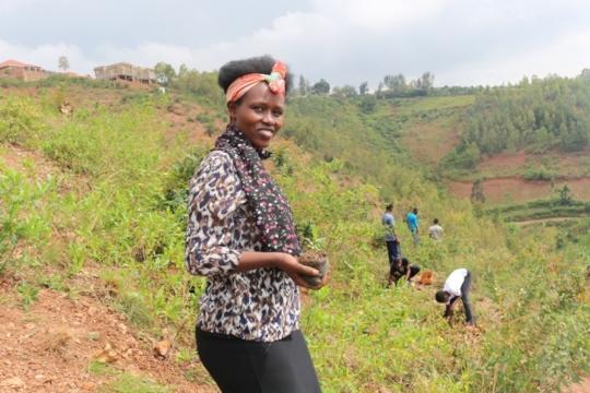 Safi herself at the service event in Rwanda