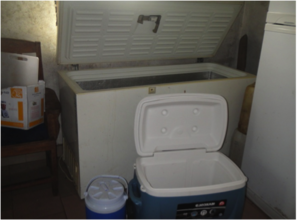 Deep freezer, flask and safari box