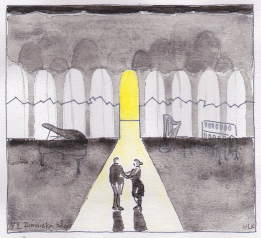 Set Design sketch for Romanska Bagar