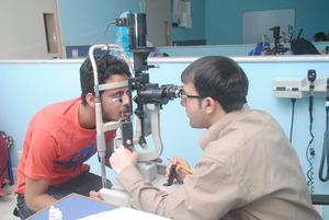 Athar being examined at LRBT hospital