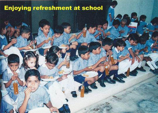 Enjoying refreshment at school