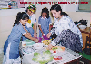 Students preparing for Salad Competition