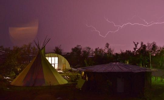 Sacred Earth Lodge at night