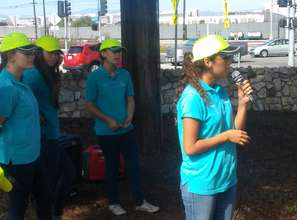 President Samantha Cano gives speech to volunteers