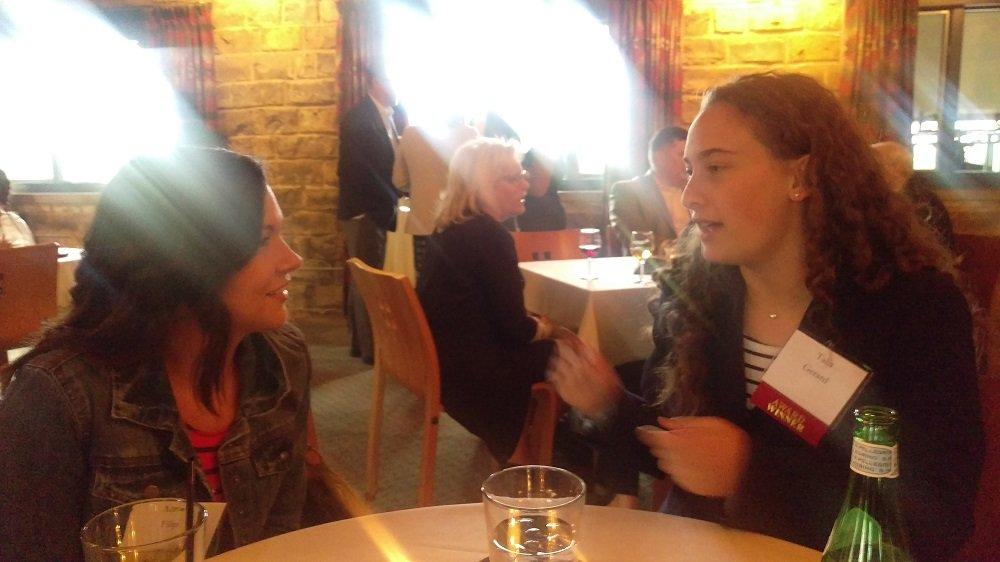 Talia speaks w/ Arbor Day staff at award reception