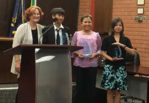 LEAD Speech Contest Grads pose with their awards