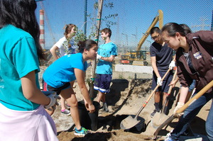 Volunteers digging a hole for a new tree