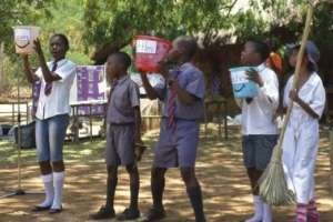 Youth in Zimbabwe doing environmental theatre