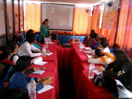 Participants attending training