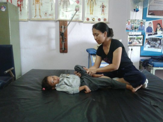 receiving physiotherapy